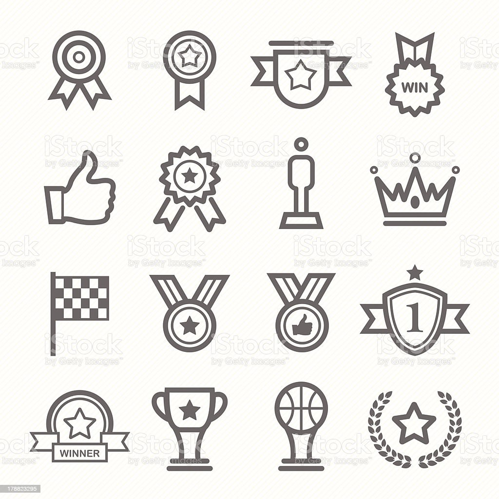 trophy and prize symbol line icon set vector art illustration