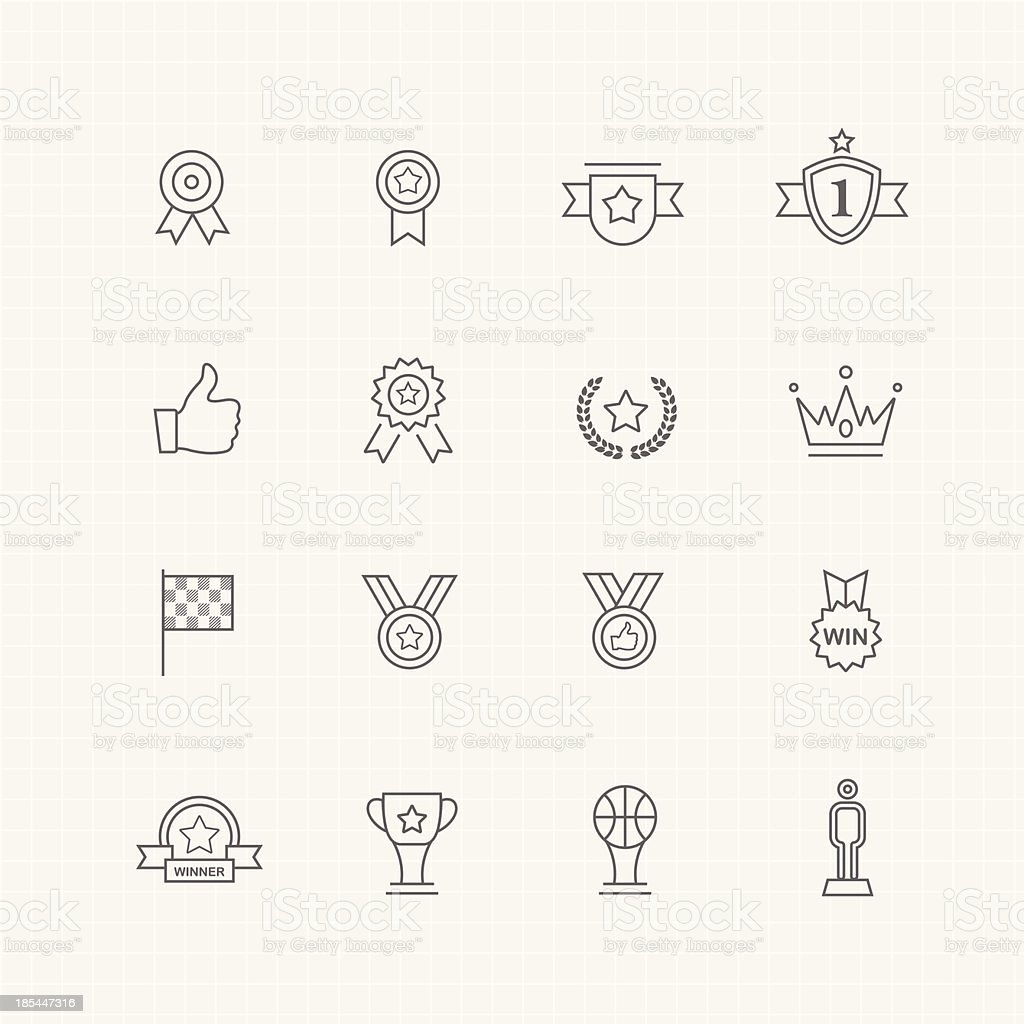 Trophy and prize vector thin line symbol icon vector art illustration