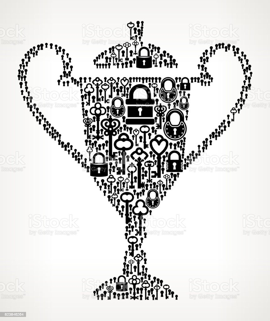 Trophy Antique Keys Black and White Vector Pattern vector art illustration