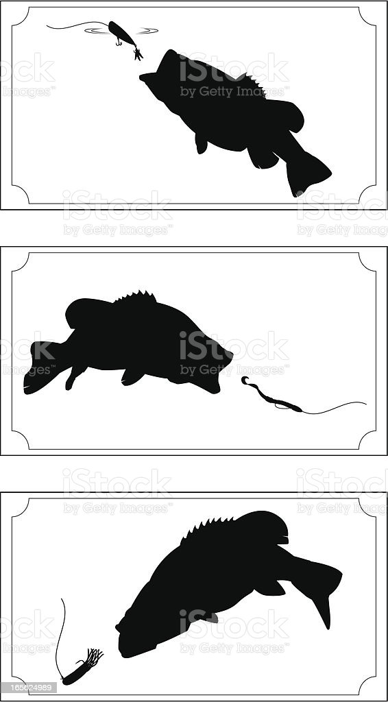Trophy Bass Silhouette set Complete with Border and Frame vector art illustration