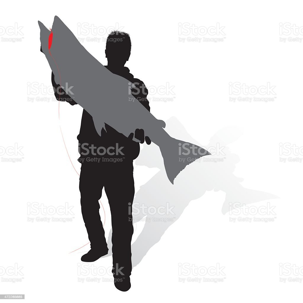Trophy Chinook Silhouette vector art illustration