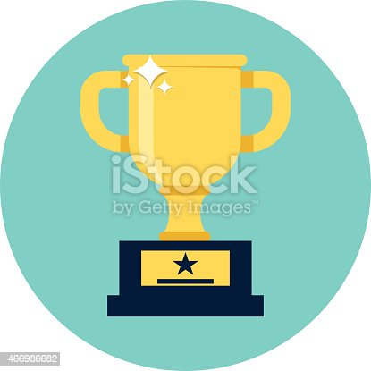 Trophy Cup Flat Icon stock vector art 466986682 | iStock