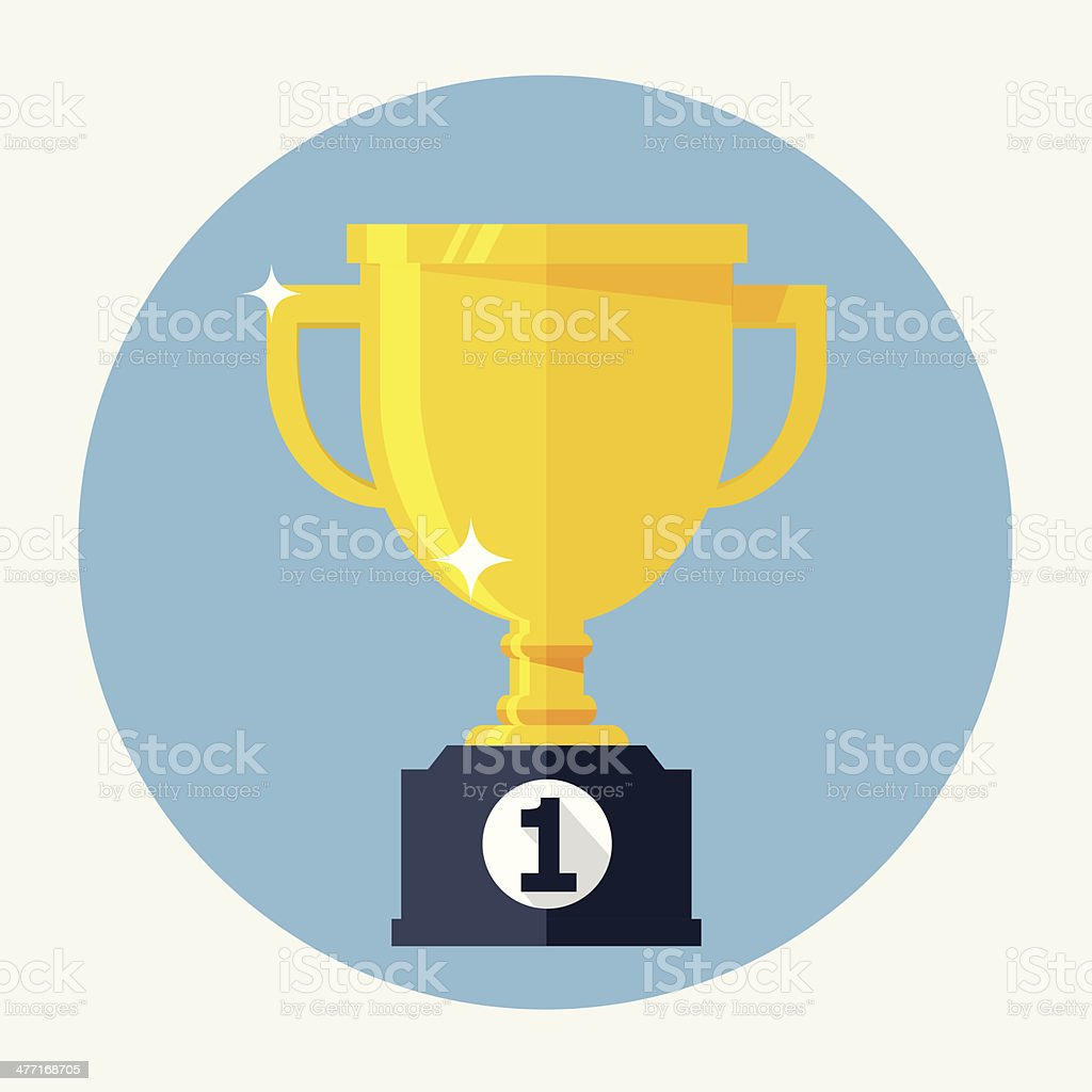 Trophy Cup Flat Icon vector art illustration