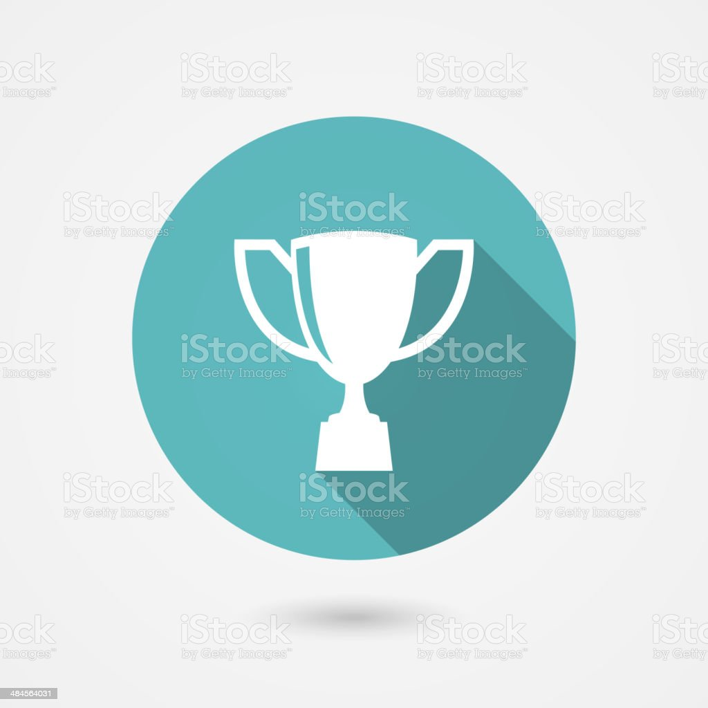 Trophy cup flat vector icon vector art illustration
