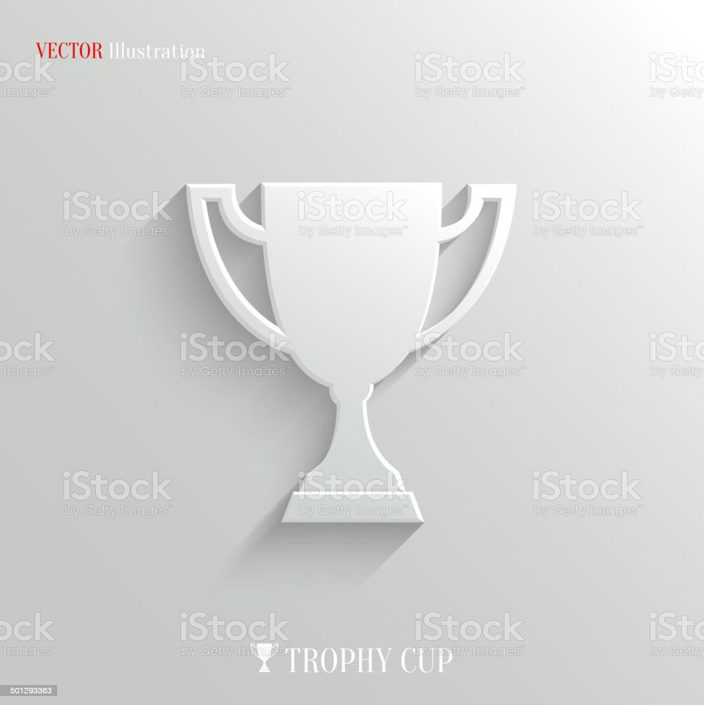 Trophy cup icon - vector white app button vector art illustration