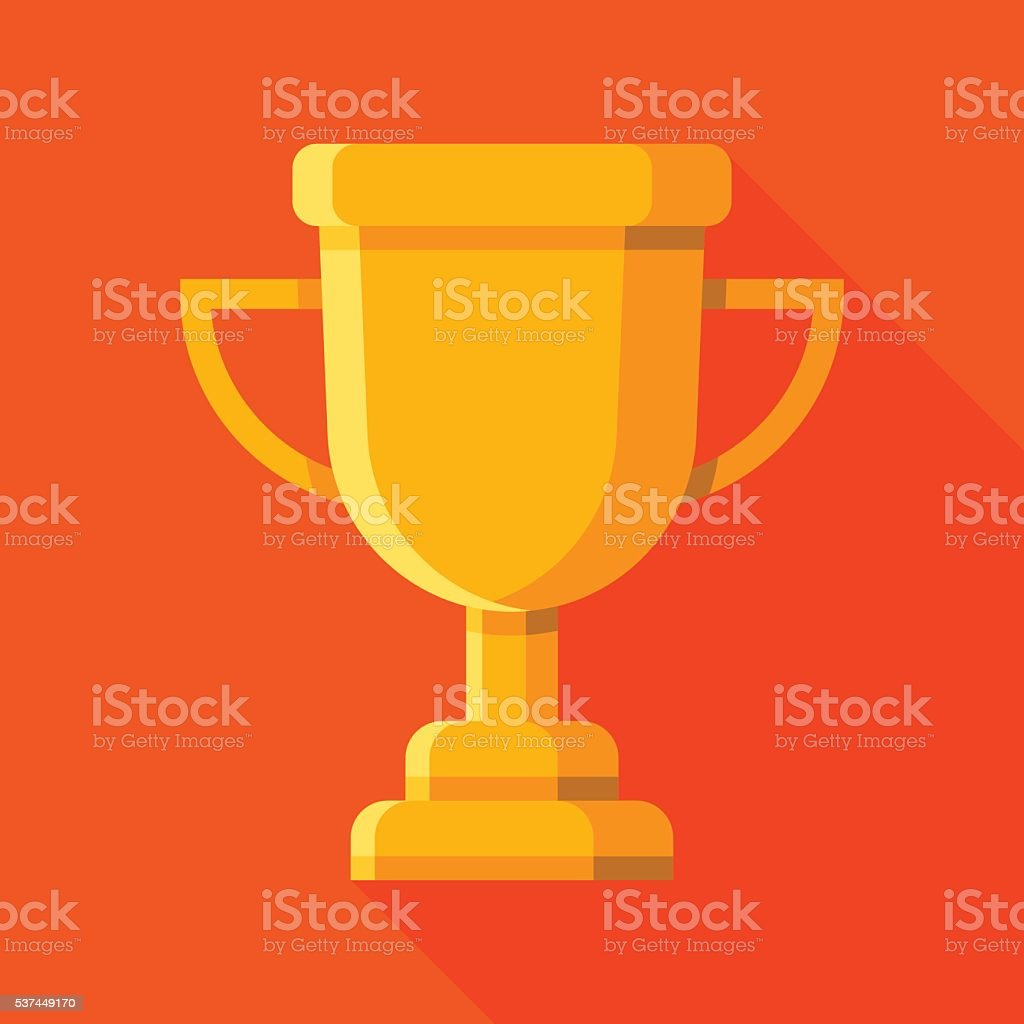 trophy cup icon with long shadow vector art illustration