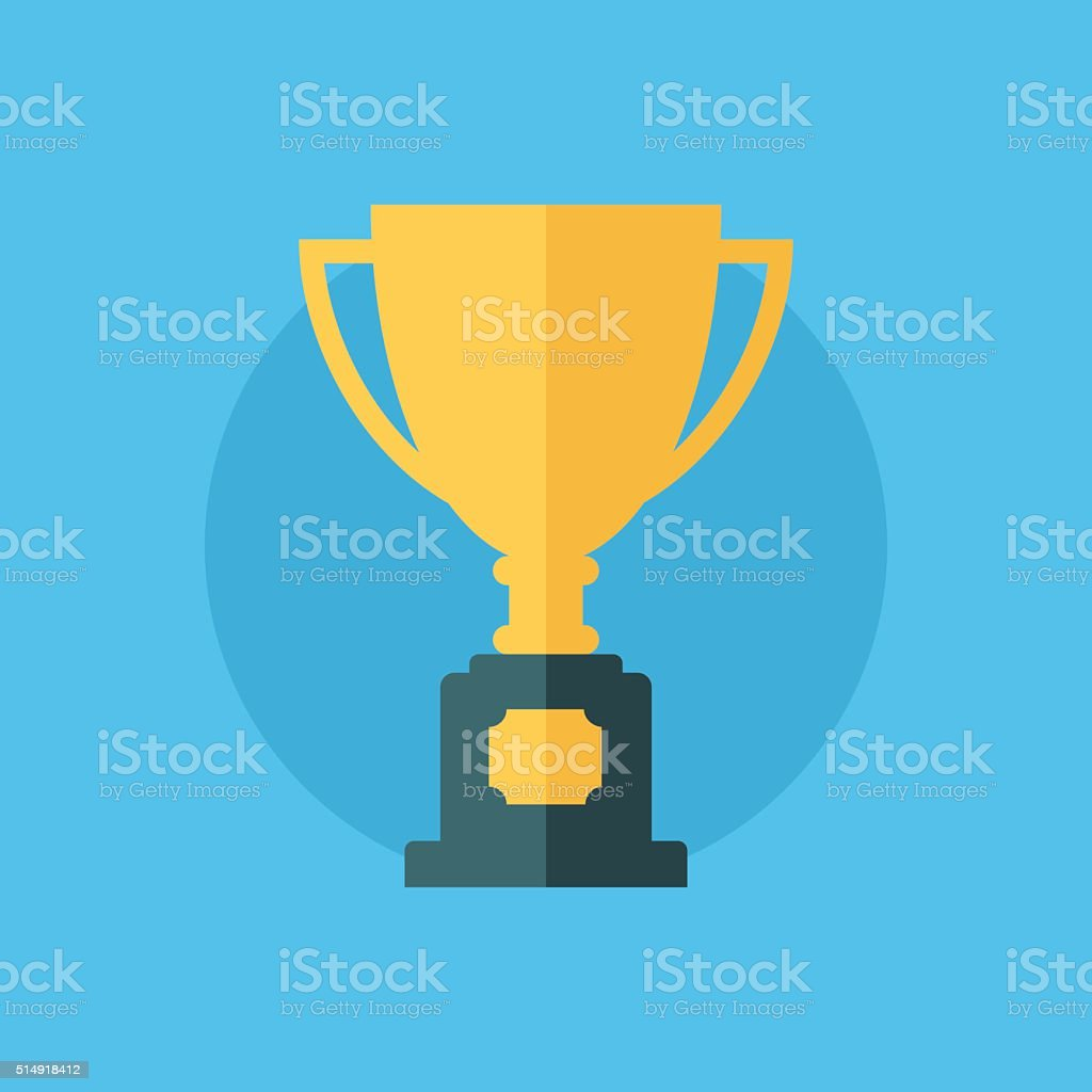 Trophy Cup. Winner cup. Flat icon. vector art illustration