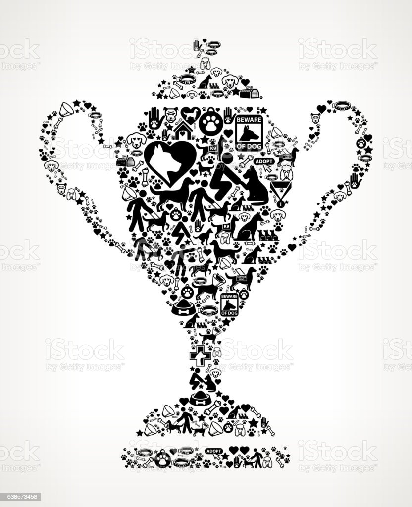 Trophy Dog and Canine Pet Black Icon Pattern vector art illustration