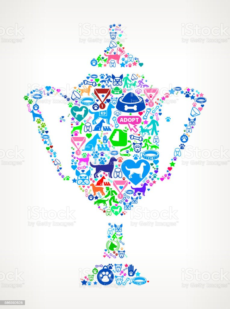 Trophy Dog and Canine Pet Colorful Icon Pattern vector art illustration