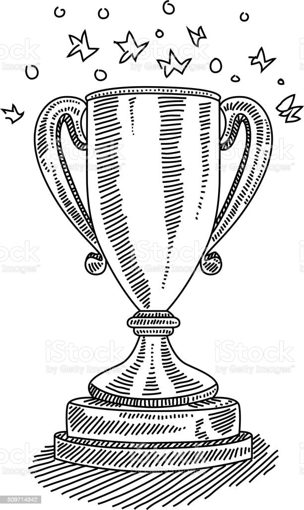 Trophy Drawing vector art illustration