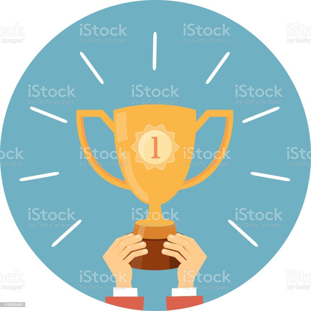 Trophy, hands holding winner cup vector art illustration