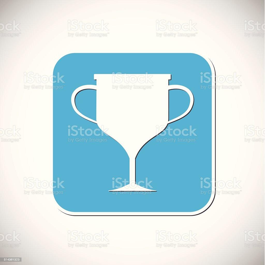 Icône de trophée.  Monture carrée bleu.  illustration vectorielle stock vecteur libres de droits libre de droits