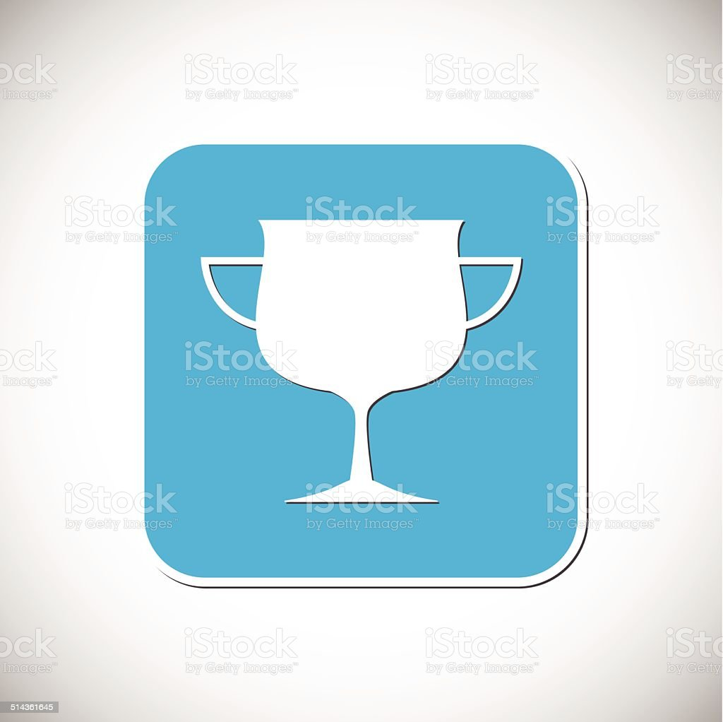 Trophy Icon Blue Square Frame Vector Illustration Royalty Free Stock Art