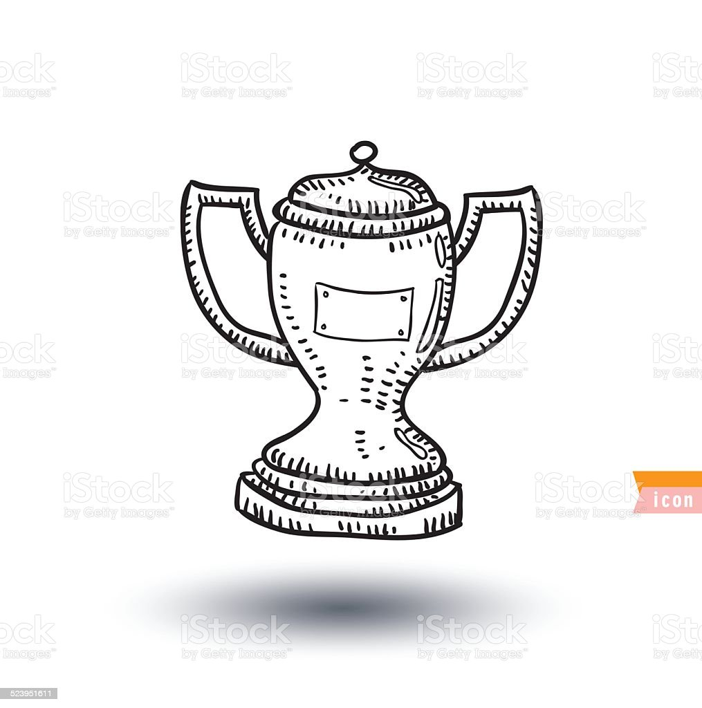 trophy icon. Hand drawn vector illustration. vector art illustration