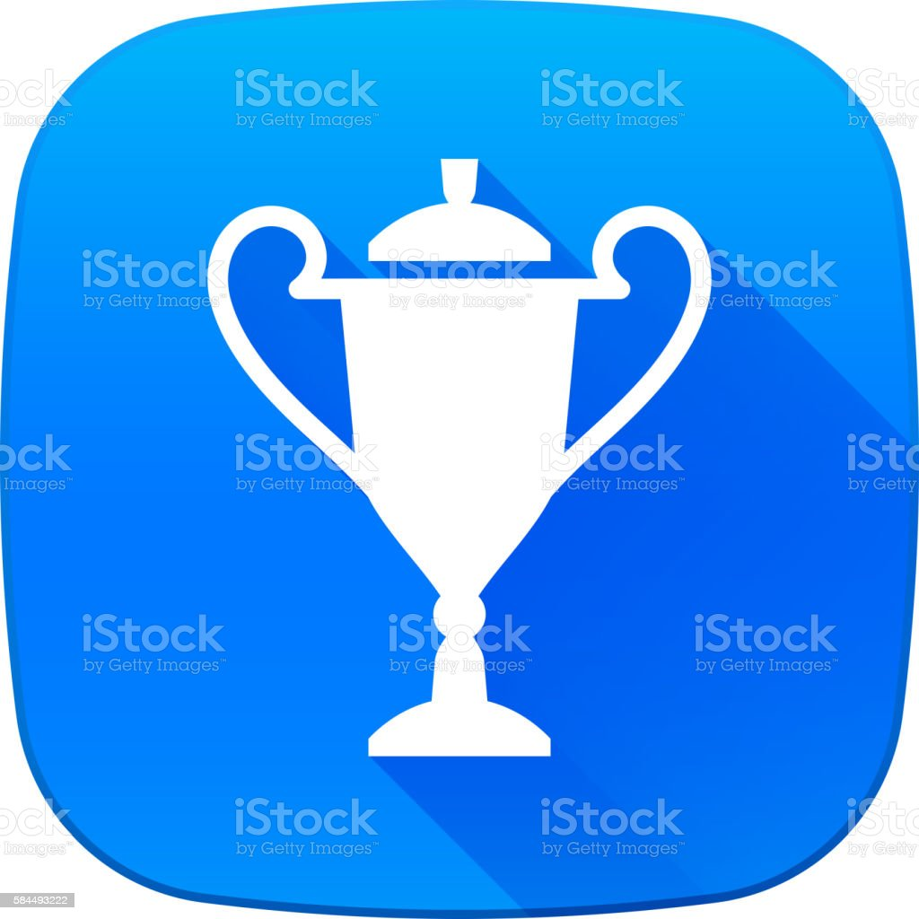 Trophy Icon on Blue Vector Button vector art illustration
