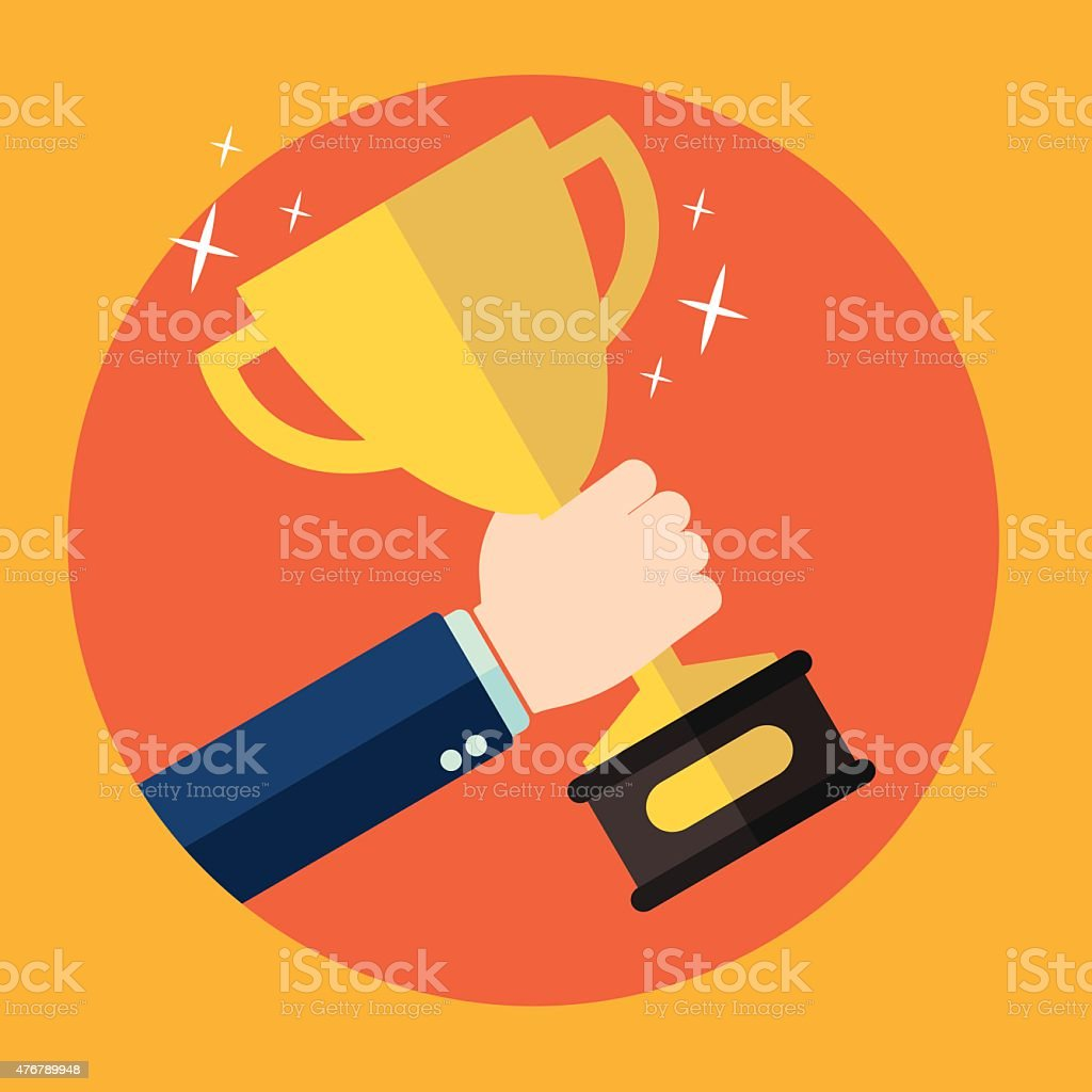 Trophy in hand. First place and business aims concept background. vector art illustration