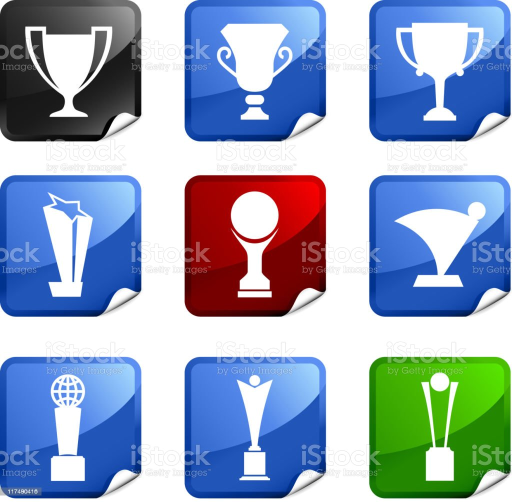 trophy nine royalty free vector icon set vector art illustration