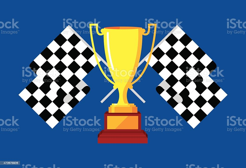 Trophy with Checkered Race Flags vector art illustration