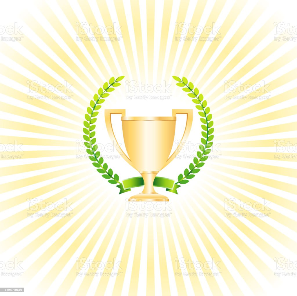 Trophy with laurel wreath and sun rays vector art illustration