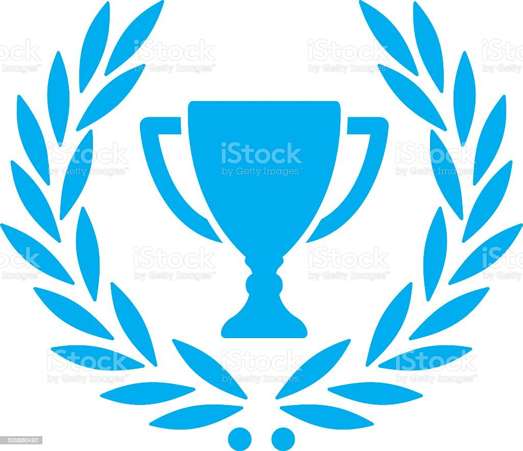 trophy with laurel wreath vector art illustration