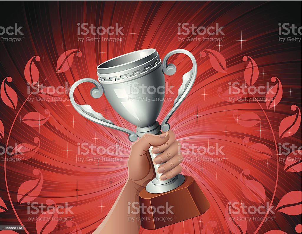 Trophy with red background royalty-free stock vector art