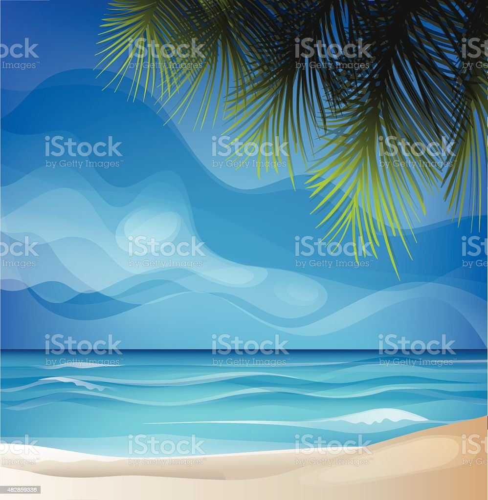 tropic exotic island beach landscape vector art illustration