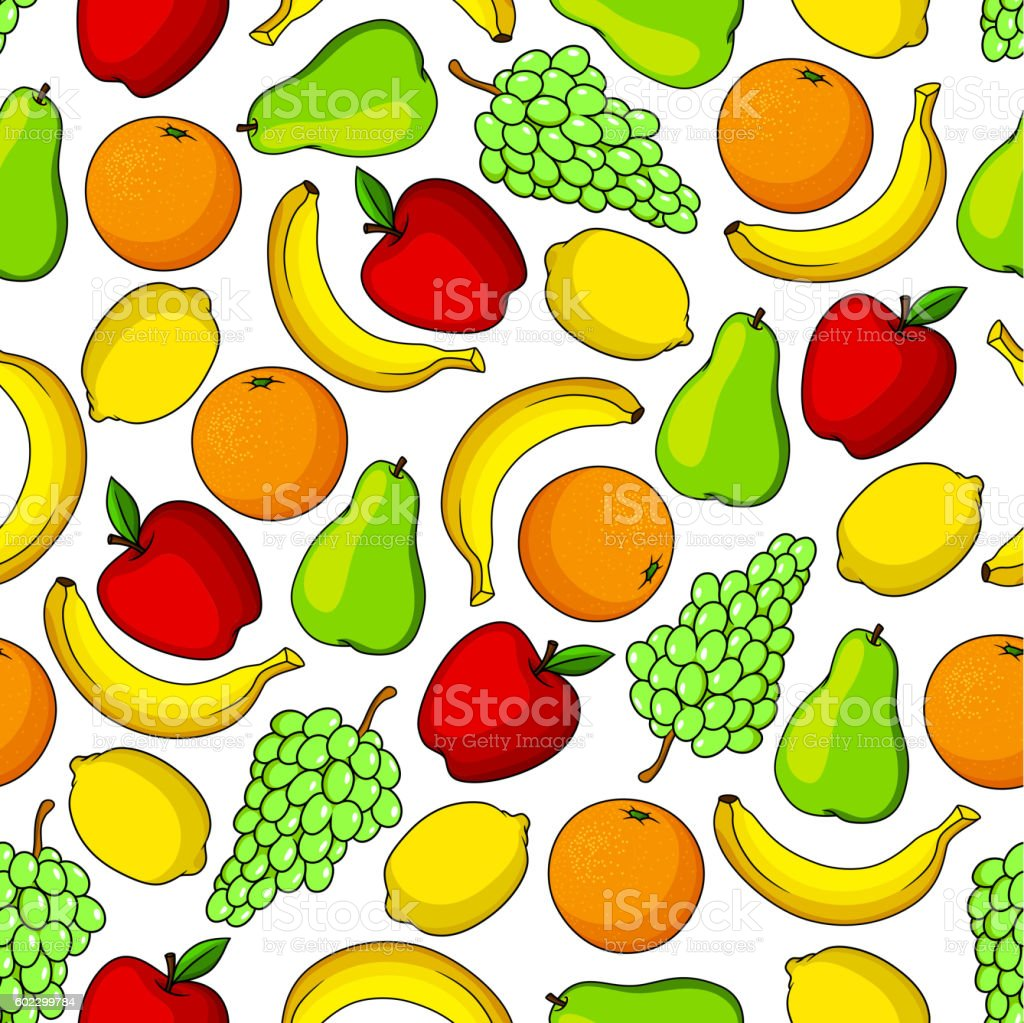 Tropical and garden fruits seamless pattern vector art illustration
