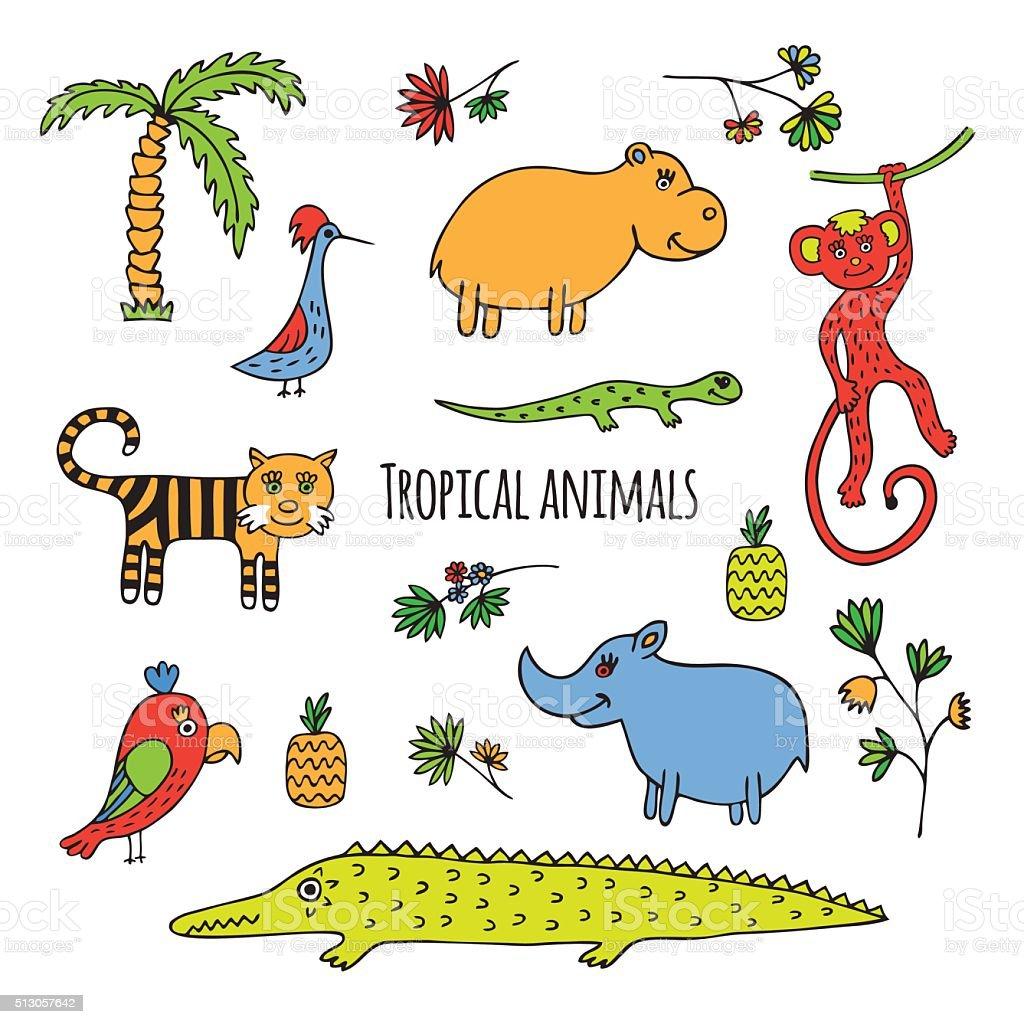 Tropical animals sketch vector art illustration