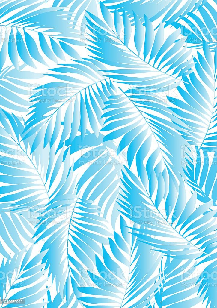 Tropical aqua leaves on a white background vector art illustration