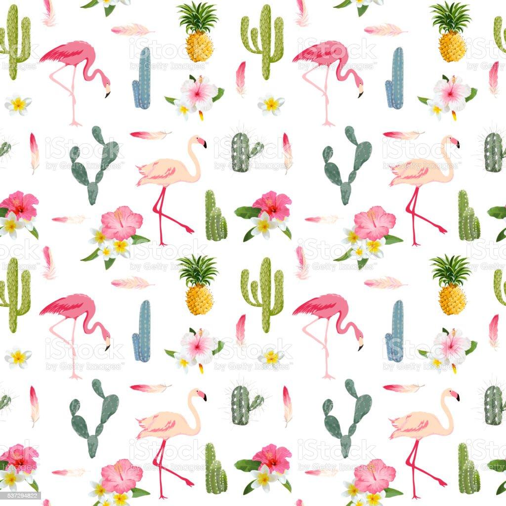 Tropical Background. Flamingo Bird. Cactus Background. Tropical vector art illustration