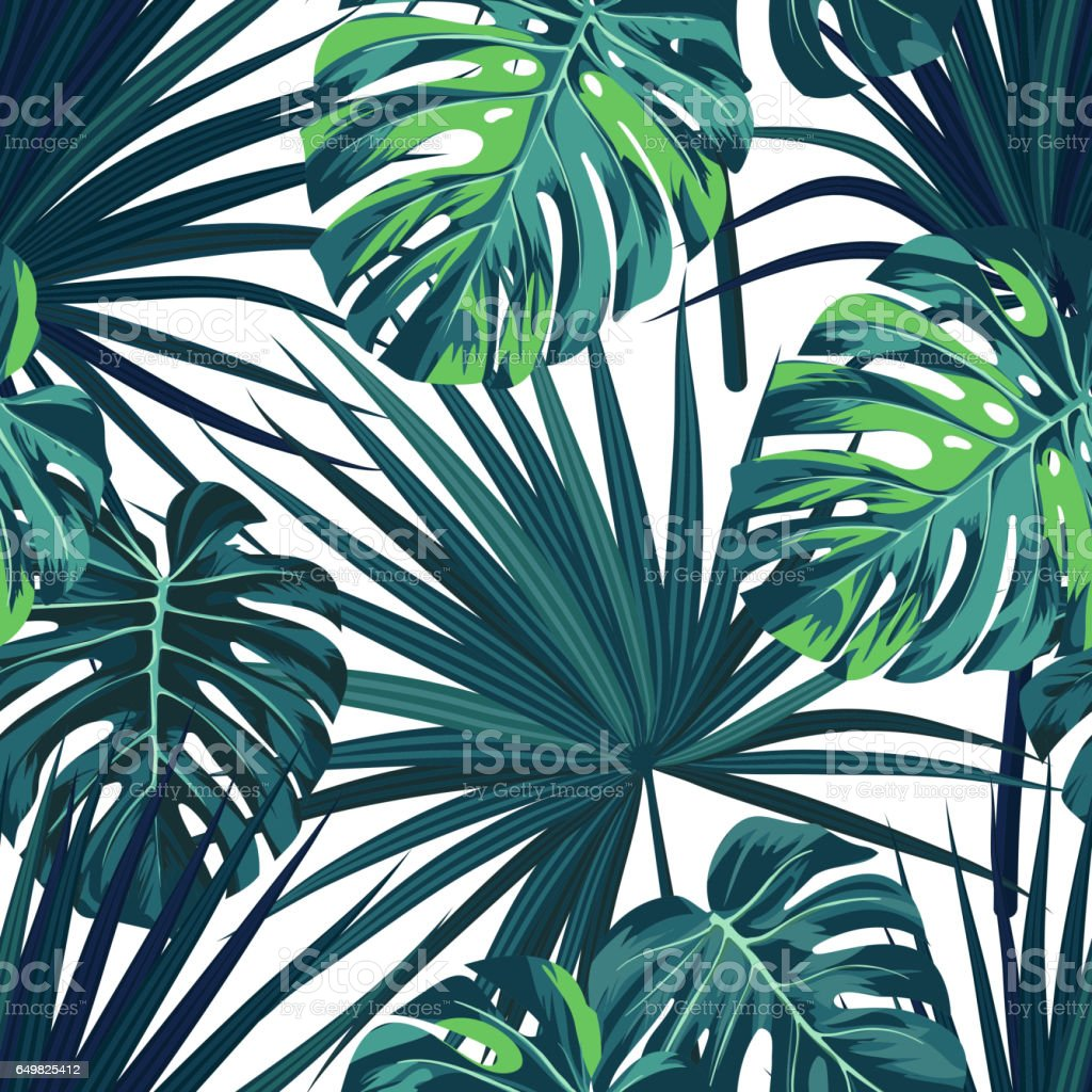 Tropical background with jungle plants. Seamless vector tropical pattern with green sabal palm and monstera leaves vector art illustration