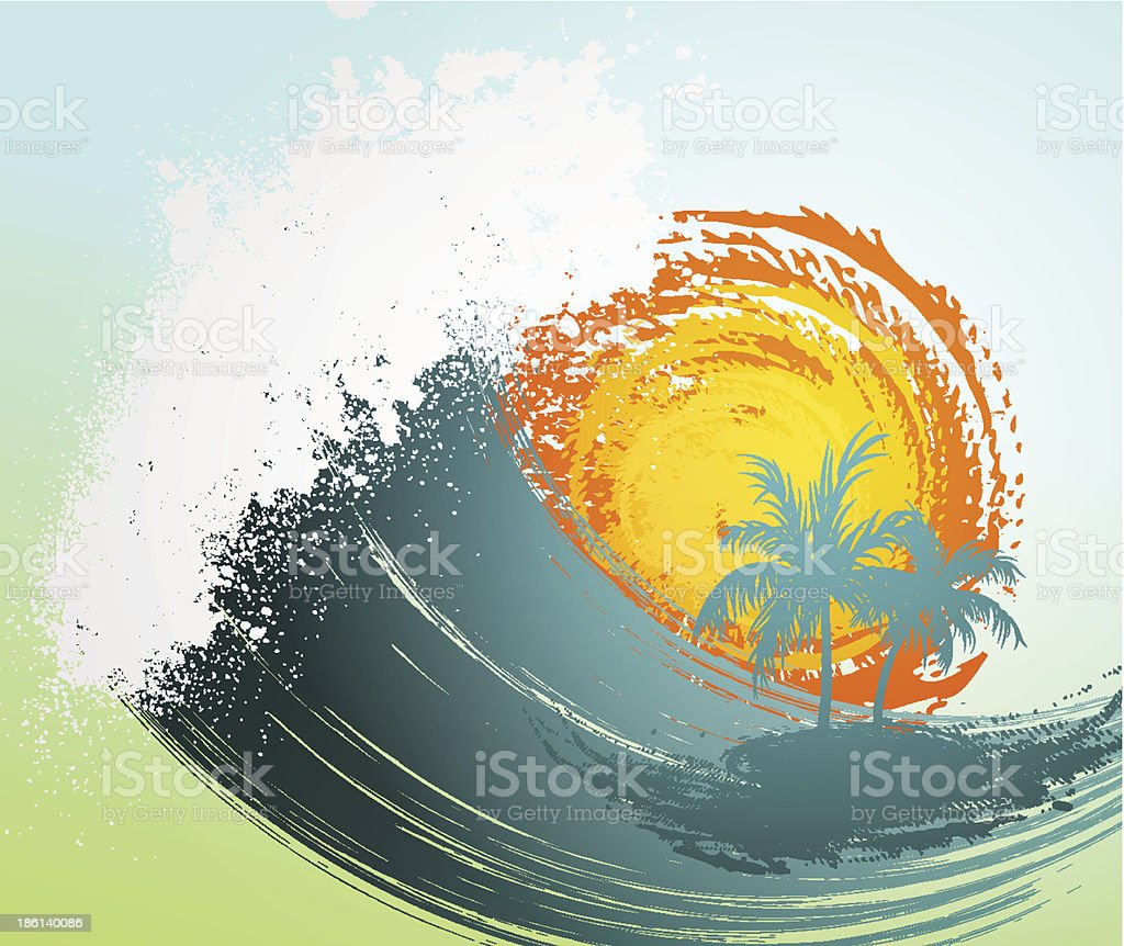 Tropical background with palm, waves and sun royalty-free stock vector art