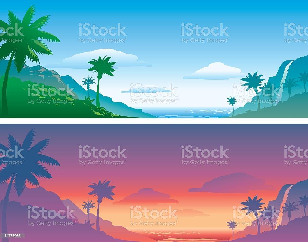 Tropical backgrounds vector art illustration