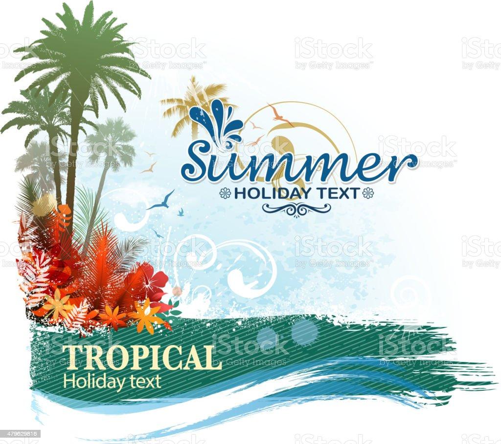 tropical banner vector art illustration