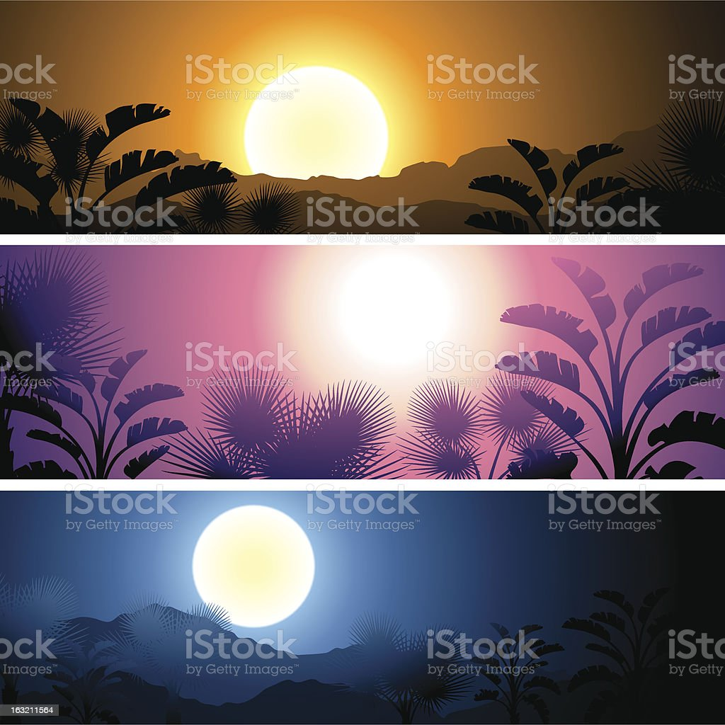 Tropical banners set landscape. royalty-free stock vector art