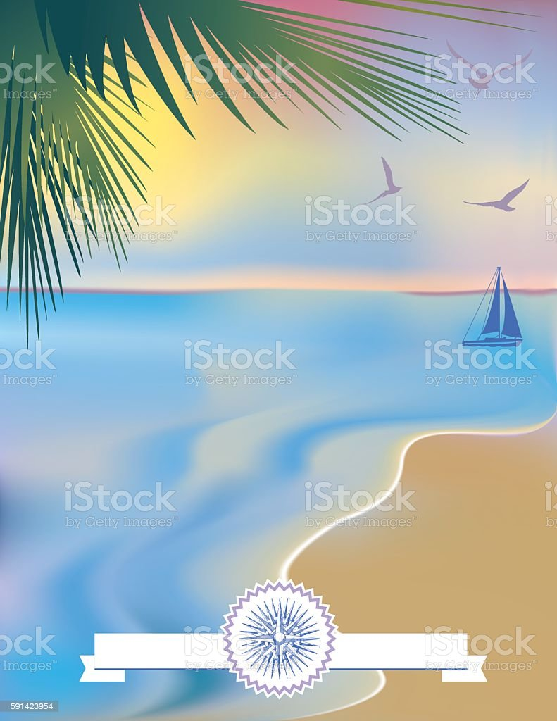Tropical Beach and Sand Background vector art illustration
