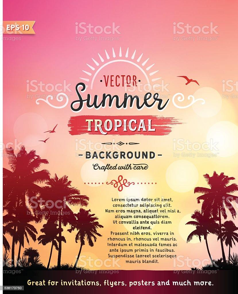 Tropical Beach Background vector art illustration