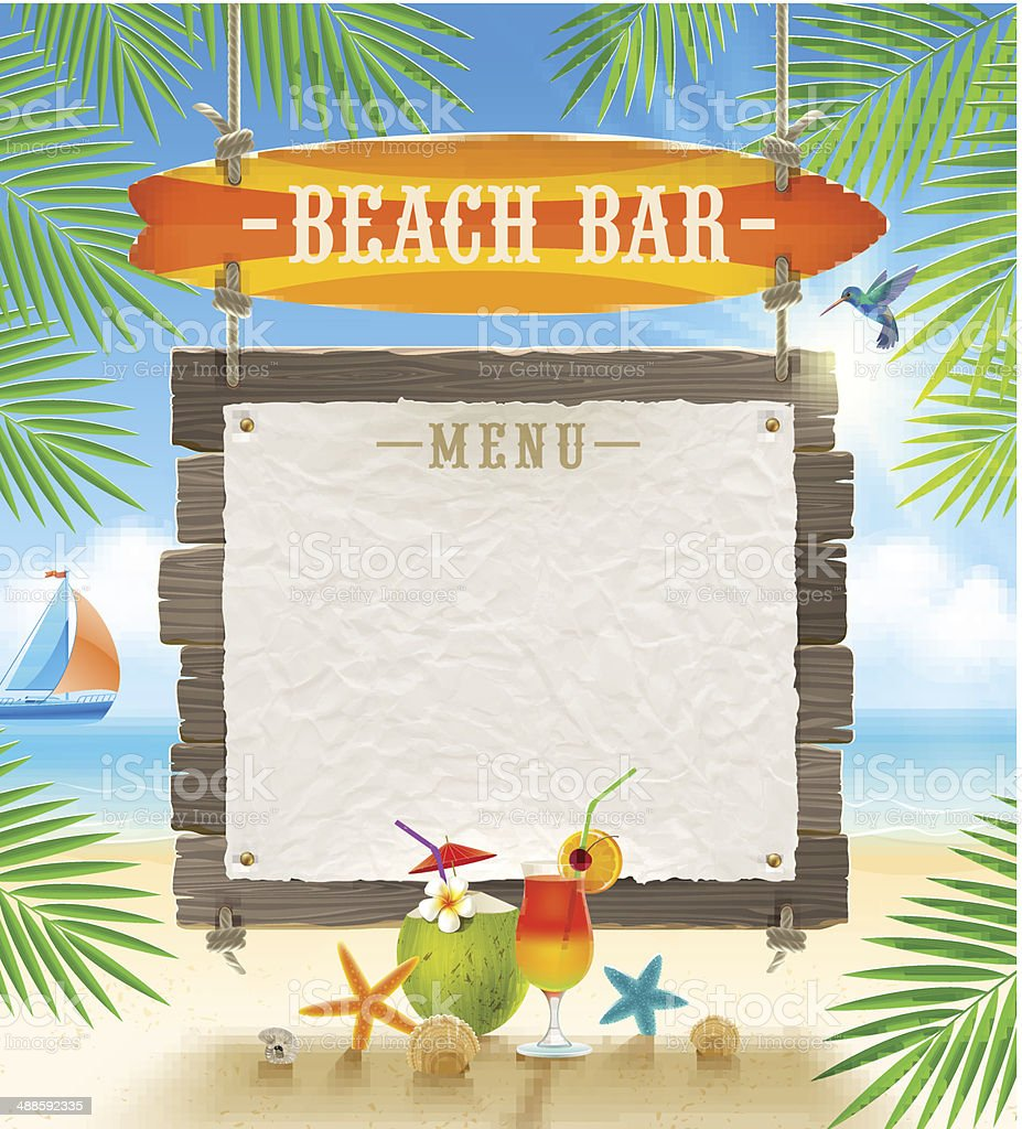 Tropical beach bar signboard and banner for menu vector art illustration