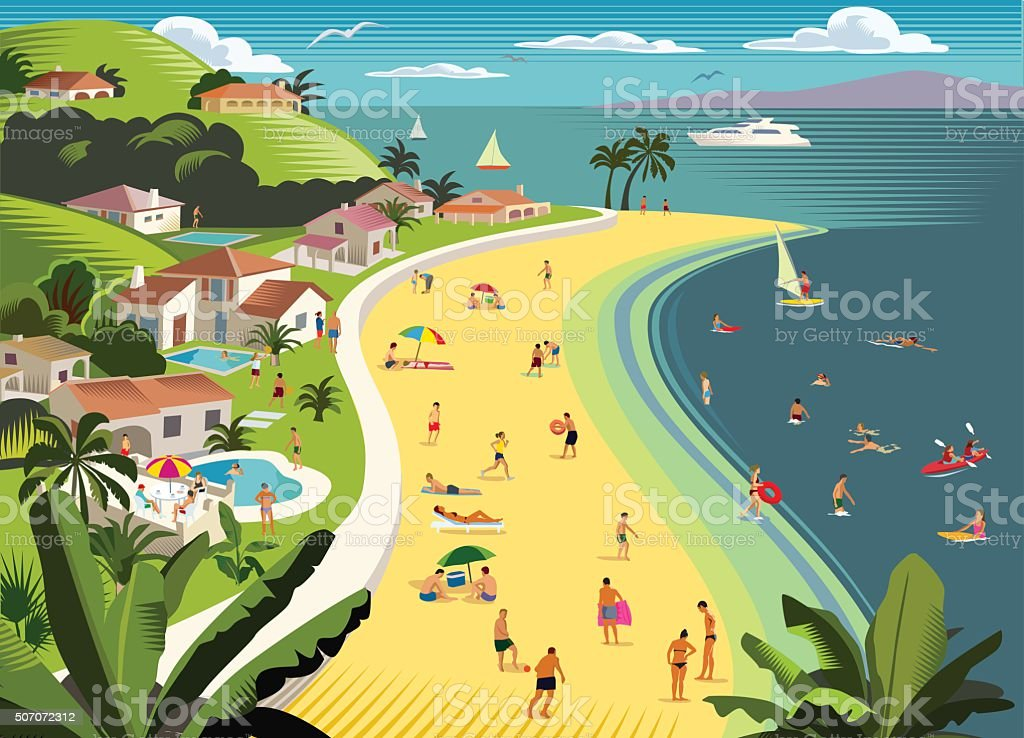 Tropical Beach Holiday with water sports vector art illustration