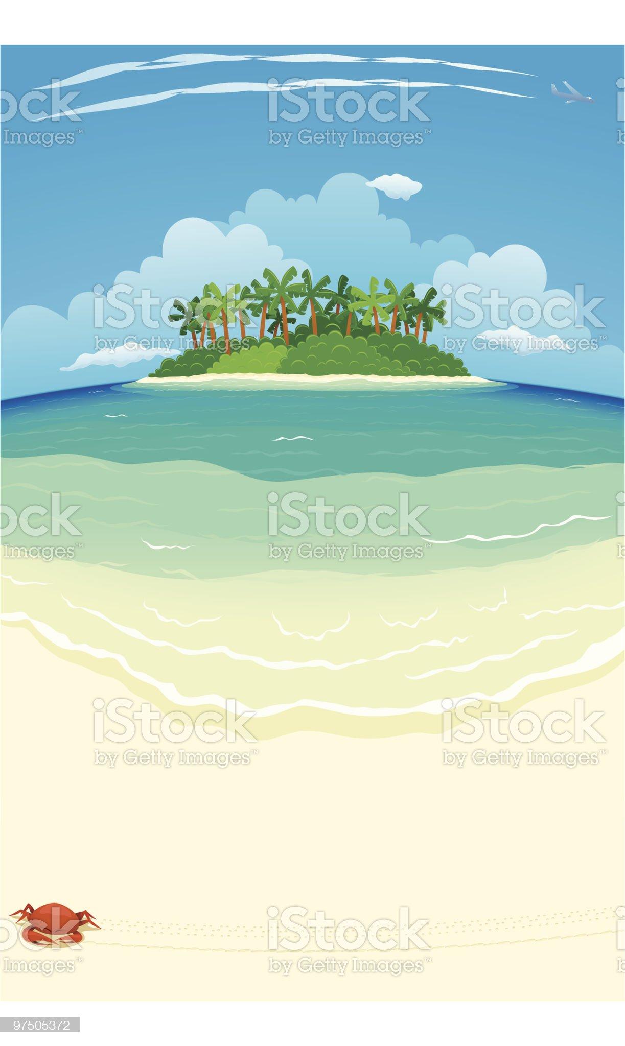 Tropical Beach & Island royalty-free stock vector art