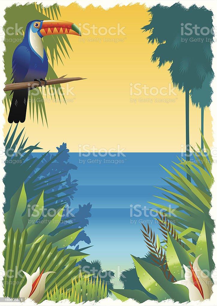 Tropical Beach Scene with Toucan vector art illustration