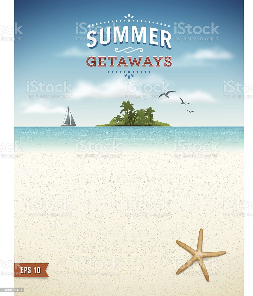Tropical Beach with Island Background vector art illustration