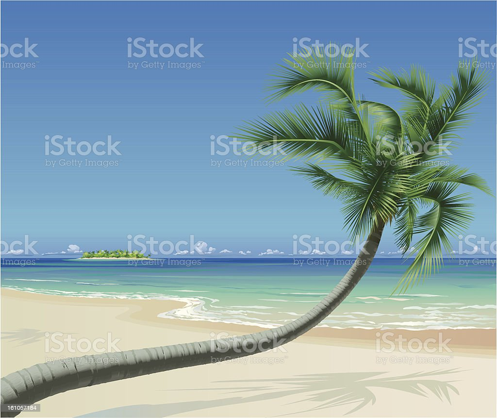 Tropical Beach with Palmtree royalty-free stock vector art