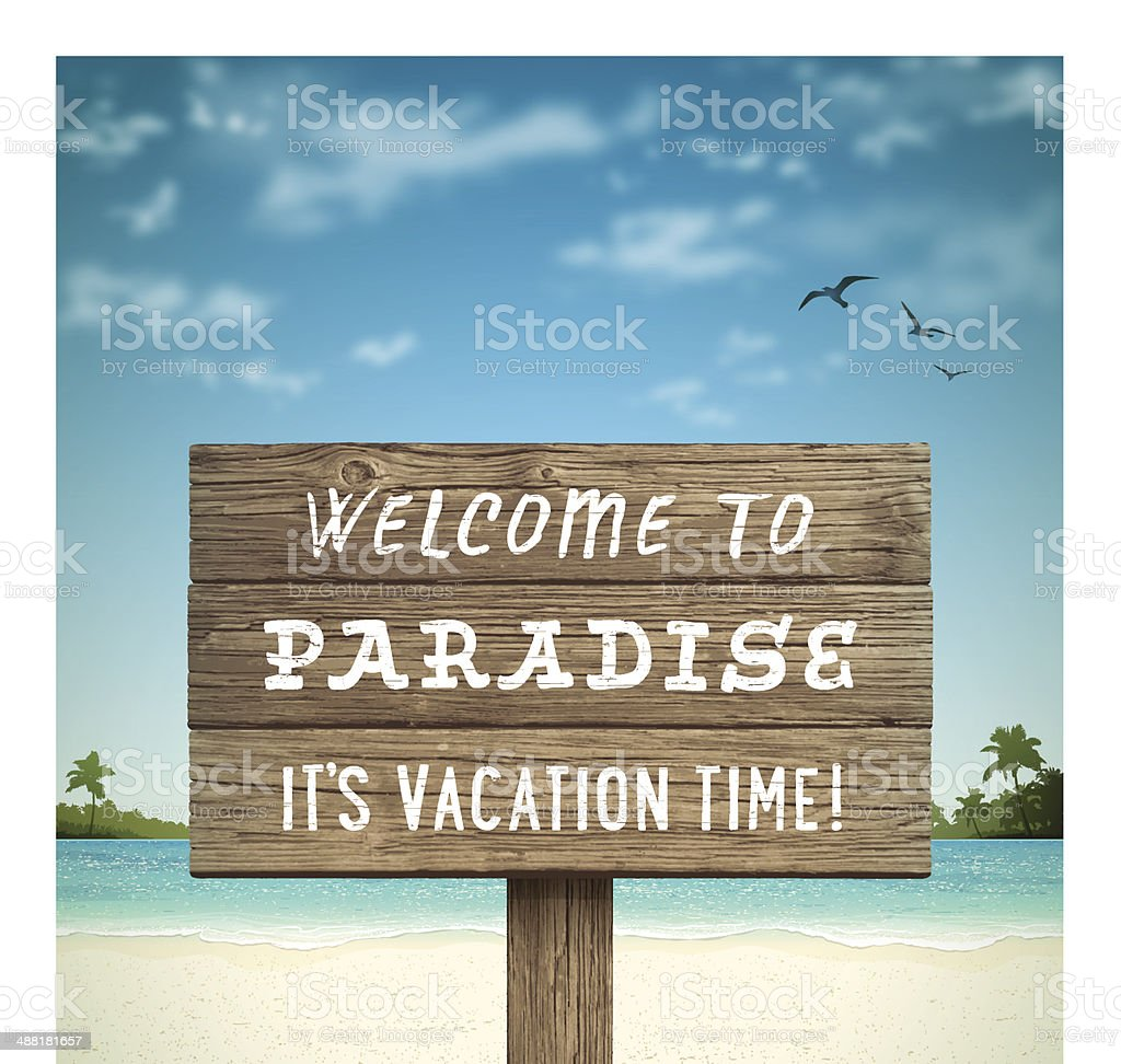 Tropical Beach with Wooden Sign vector art illustration