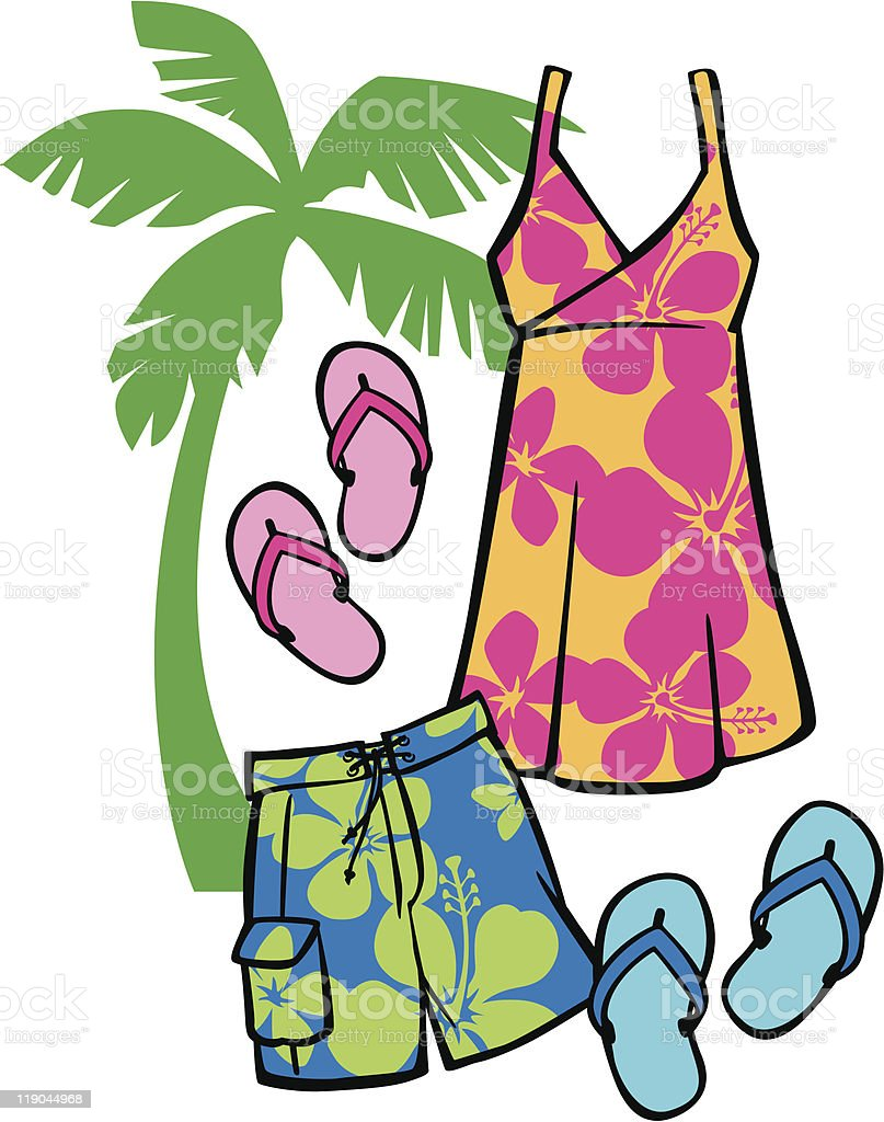 Tropical Beachwear vector art illustration