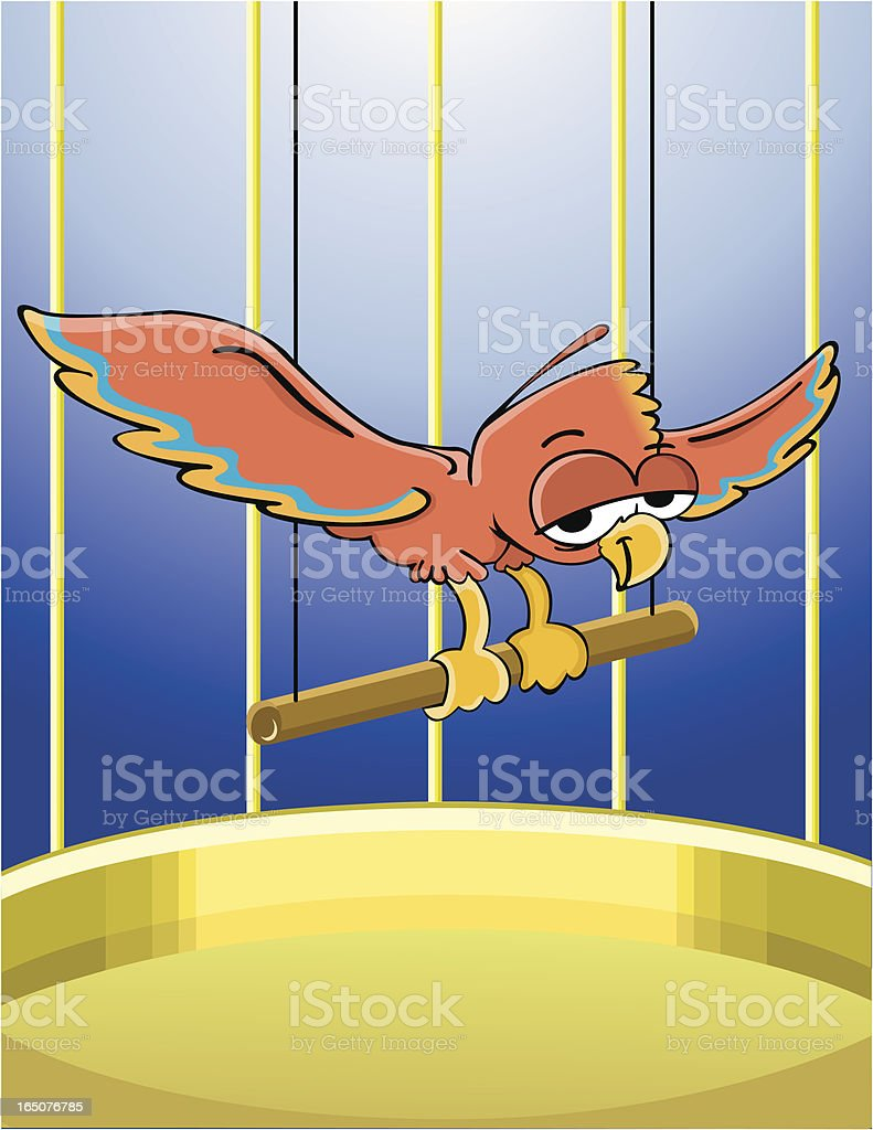 Tropical bird in a cage vector art illustration