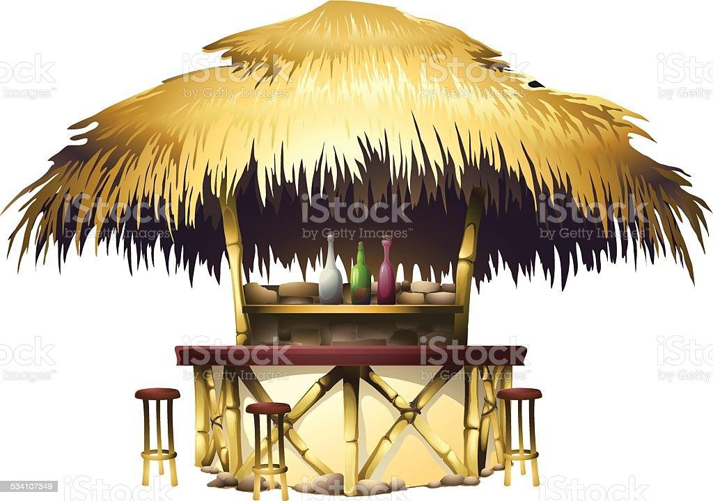Tropical bungalow bar vector art illustration