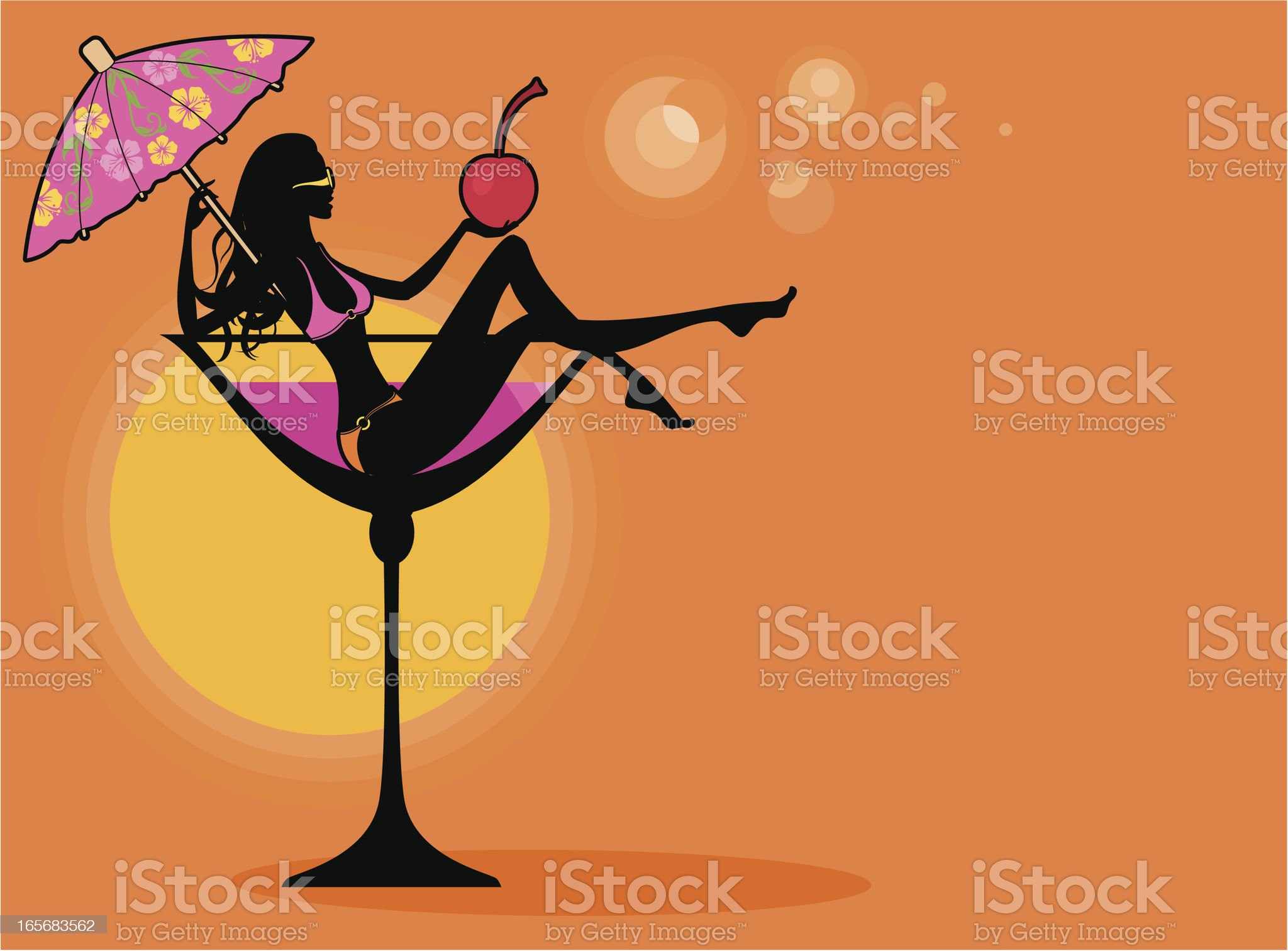 Tropical Cocktail Girl royalty-free stock vector art