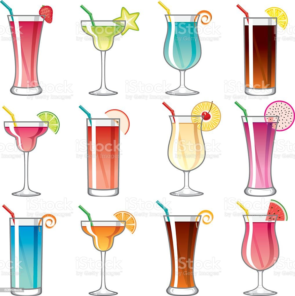 Tropical Cocktail Glass Icons Set vector art illustration