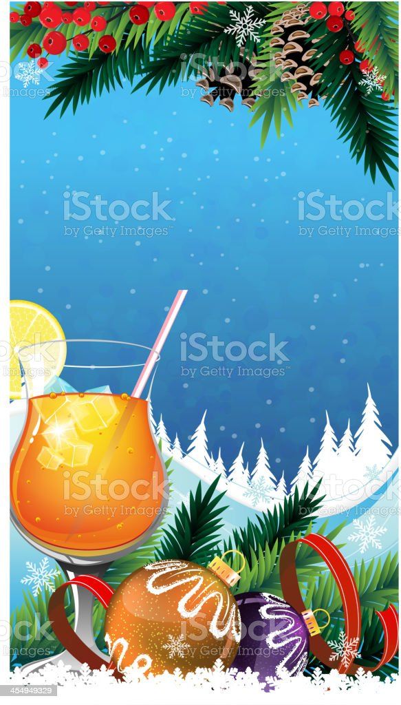Tropical cocktail on a winter background vector art illustration